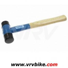 CYCLUS - marteau maillet caoutchouc nylon manche bois bleu 410 grs