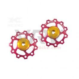 KCNC - paire galets roulettes dérailleur roulement céramique 11 dents ROUGE