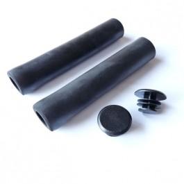 TKX - poignées grip en silicone 130 * 30 mm + bouchons NOIR