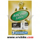 MICHELIN - Chambre à air vtt C4 Aircomp LATEX 26*1.90-2.25 valve grosse SCHRADER 42 mm