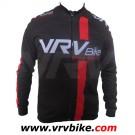 VRV - Maillot manches longues Skyn dry fermeture intégrale Noir logo blanc rouge taille M